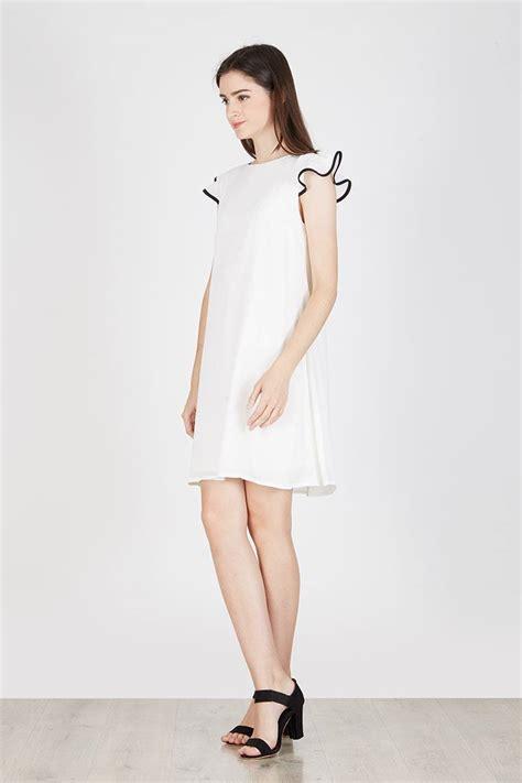 Kaos Kaki Mimi Ruffle sell nigella frill dress white casual berrybenka