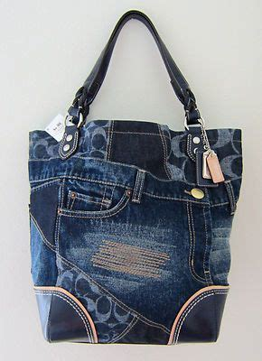 nwt coach poppy denim patchwork heritage tote bag