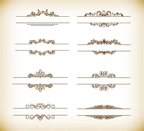 header design elements header frame with retro floral elements vector