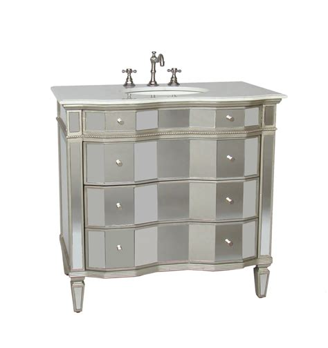 Adelina 36 Inch Mirrored Bathroom Vanity White Carrara 36 Bathroom Vanities