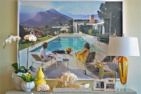 quot poolside gossip quot slimaaron reproduction print with gold table ls and vases at dallas