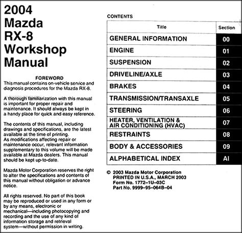 service manuals schematics 2004 mazda rx 8 spare parts catalogs service manual work repair manual 2004 mazda rx 8 september 2014 free guide manual