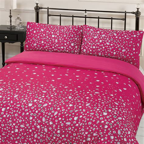 pink king size bedding glitz diamante print duvet cover with pillowcases hot pink