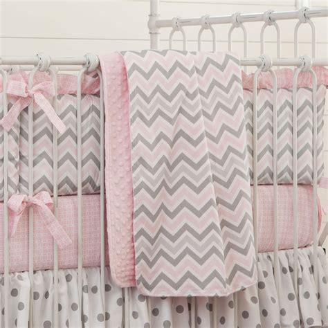 Pink And Gray Chevron Crib Blanket Carousel Designs Gray Pink Crib Bedding
