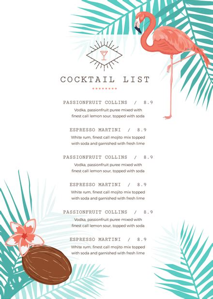 Tropical Cocktail List Menu Template With Flamingos And Palm Leaves Tropical Menu Template Free