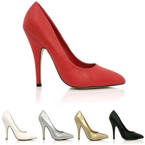 new womens stiletto heel pointed toe court shoes size ebay