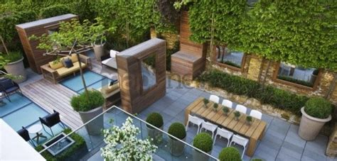 terrasse en ville terrasse jardin contemporain sur toit d immeuble arbre
