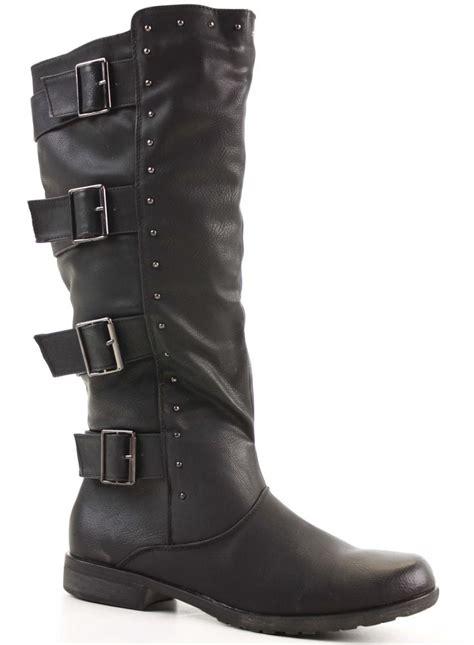 womens biker style boots womens winter biker style slouch low flat heel wide calf