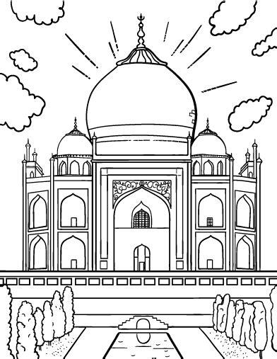 free taj mahal coloring page