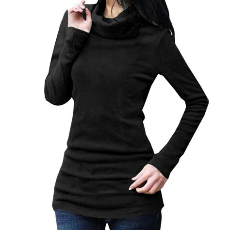 Pakaian Wanita Top Knit Tees syb 2016 new turtleneck sleeve fitted knit shirt stretchy tunic tops black m in t