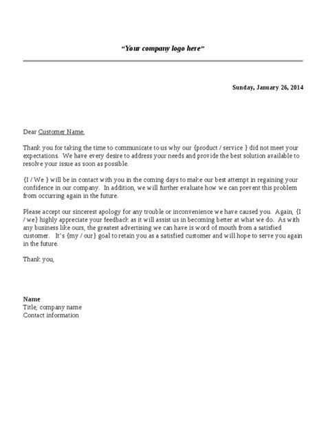 Complaint Letter Template For Poor Customer Service Reply To Complaint Letter Sle Docoments Ojazlink
