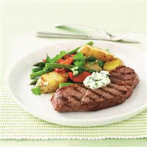 Char grilled rump steak potato salad and garlic mayonnaise recipe