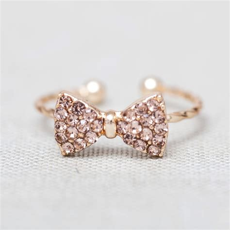 Lovely And Cute Gold Rhinestone Bow Little Finger Ring on