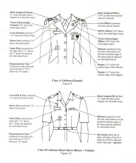 us army class a uniform measurements jrotc cadet uniform guide okeechobee high school jrotc