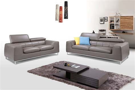 Light Gray Living Room Furniture Modern Three Light Gray Leather Living Room Set Esf Fd2197