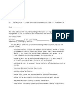 bookkeeping engagement letter