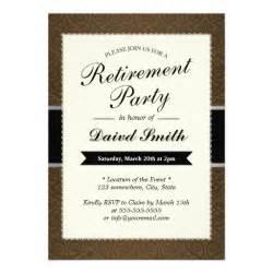 brown damask retirement invitations