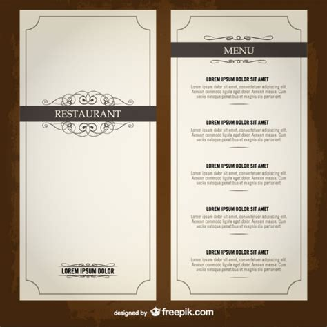 food menu list restaurant template vector free