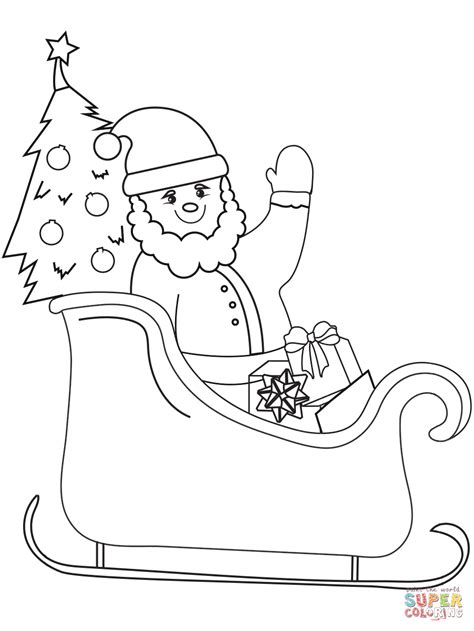 coloring page of santa in his sleigh santa in his sleigh coloring pages christmas coloring pages