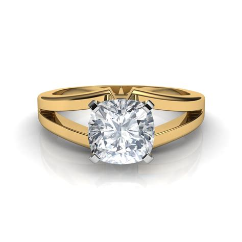 split shank cushion cut solitaire engagement ring
