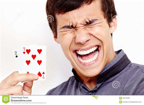 Gift Card Stock Photo - screaming guy with bad playing cards stock photo image 59312285