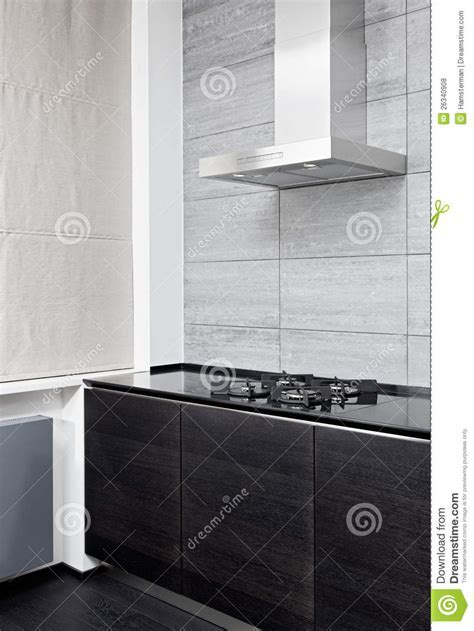 Gas Stove And Cooking Hood On Modern Kitchen Royalty Free