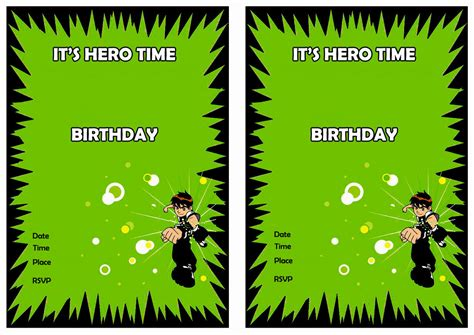 Ben 10 Birthday Invitation Cards Templates by Ben 10 Birthday Invitations Birthday Printable