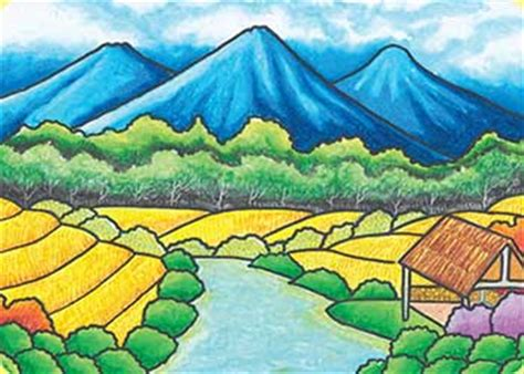 gambar desa  sawah pemandanganoce