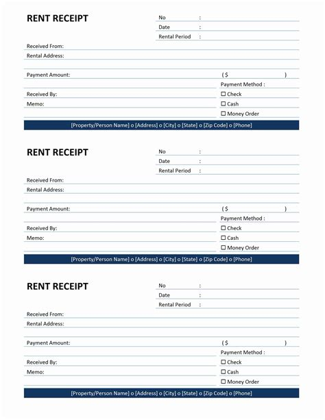 tenant rent receipt template rent receipt
