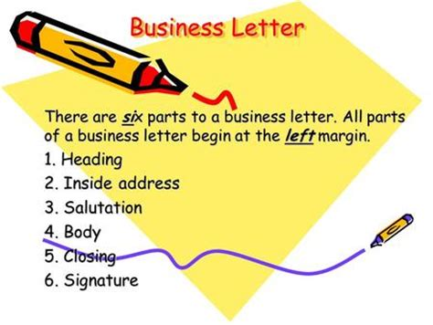 Business Letter Without Inside Address parts of a friendly letter ppt