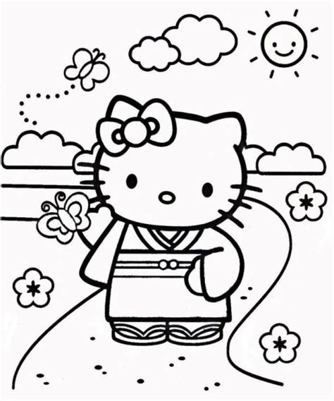 Hello Kitty New Year Coloring Pages | 6 best images of printable hello kitty kimono hello