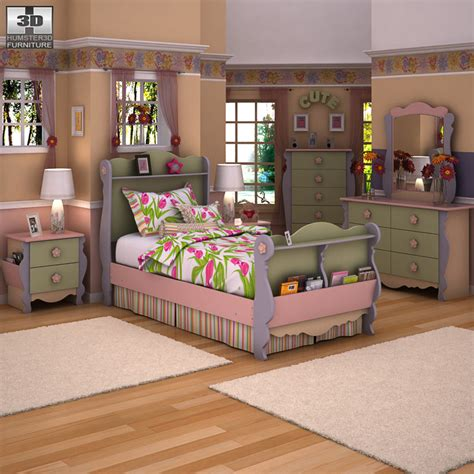 Doll House Sleigh Bedroom Set 3d Model Props Scenes Doll Bedroom Furniture