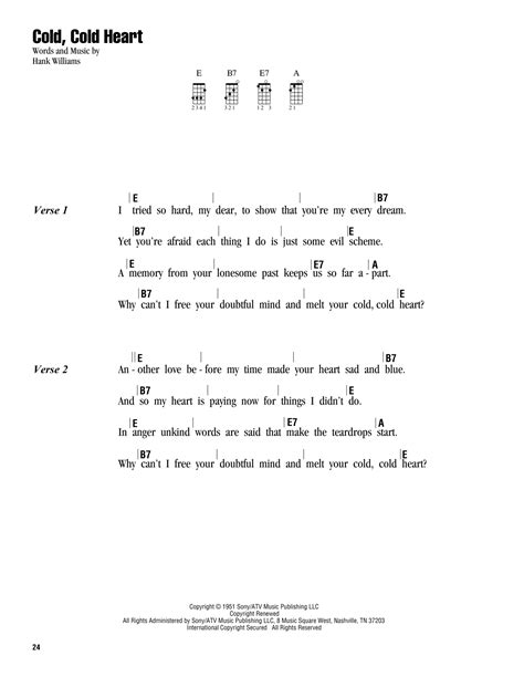 strumming pattern ugly heart cold cold heart sheet music by hank williams ukulele