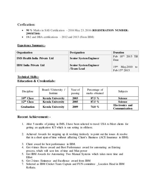 Resume Sles For Sas Analyst Sas Resume Sle Resume Cv Cover Letter
