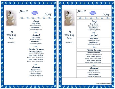 menu layout microsoft word wedding menu template