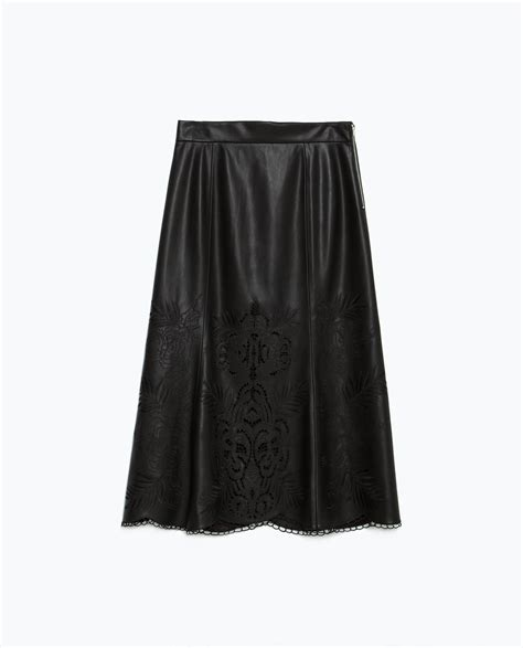 zara faux leather skirt faux leather skirt in black lyst