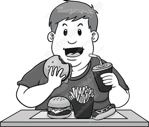 Simple Listy Black And White much unhealthy fast food clipart