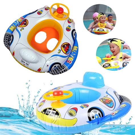 kid boat horn kids baby inflatable pool seat float boat swimming wheel