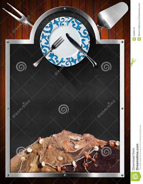 Blue Plate Kitchen Menu by Blackboard For Seafood Menu Stock Illustration Image