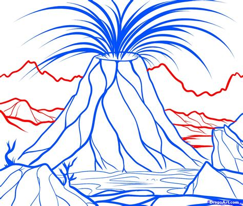 create drawings how to draw a supervolcano supervolcano step by step