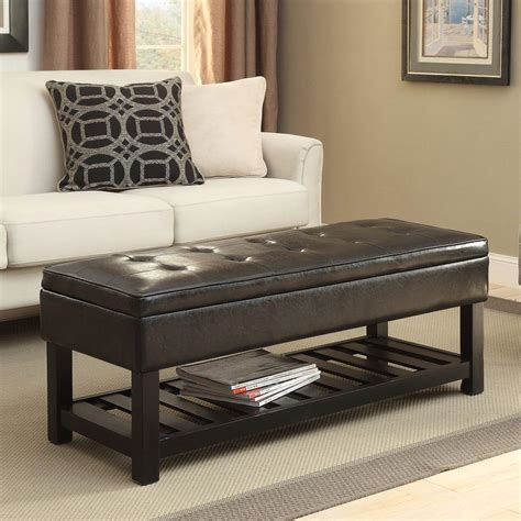 simpli home cosmopolitan storage ottoman simpli home cosmopolitan rectangular tufted faux leather