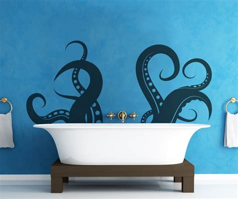 bathroom vinyl wall giant octopus tentacle wall decal a cool way to bring