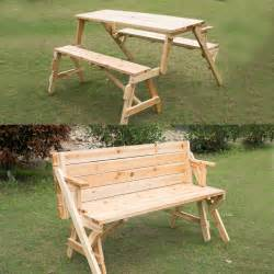 Patio Table With Bench Outsunny 2 In 1 Interchangable Wooden Picnic Table Garden Bench Patio Furniture Ebay