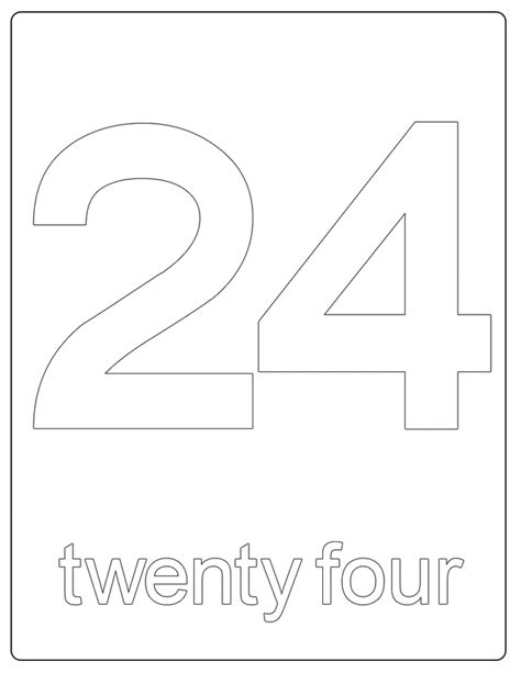 Coloring Page 24 by Printable Numbers Number 24