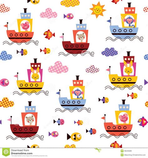 Ocean Themed Bedroom cute animals in boats kids sea pattern stock vector