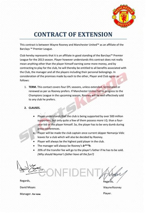 football contract template satire wayne rooney s manchester united contract leaked