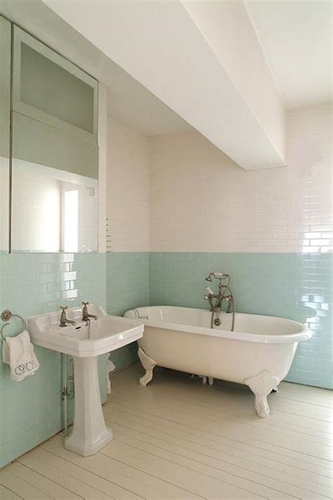 Two Tone Bathroom Color Ideas by Turquoise Subway Tiles Transitional Bathroom