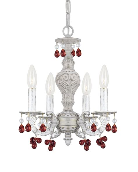 Mini Chandelier In Antique White Finish 5024 Aw Cl Mwp Destination Lighting Crystorama 5224 Aw Market