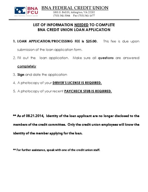 Credit Union Loan Form Credit Union Loan Application Form Sle Free