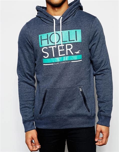 hollister hollister hoodie with print logo in navy at asos